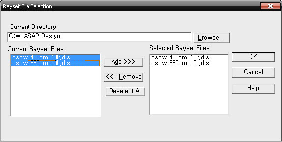 Rayset File Selection